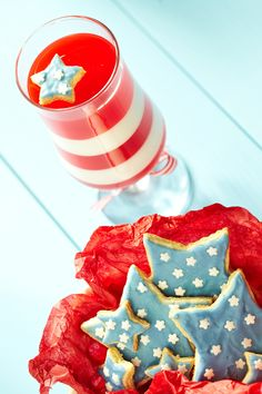 July 4th dessert ideas. We love this layered red and white jello served in a glass!