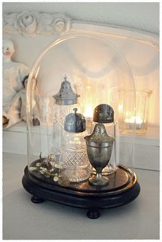 Lovely sugar shakers under a cloche.