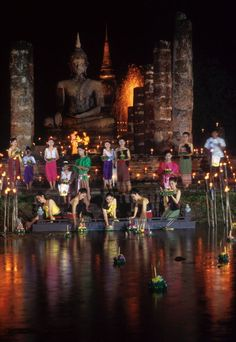 Loi Krathong is a festival celebrated annually throughout Thailand. The name is translated to Floating Decoration as buoyant decorations are made then floated on a river.