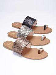 Sequin Toe-ring Sandal