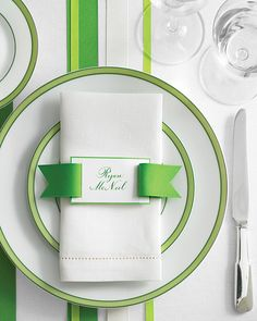 Too cute! Could do pink ribbon. Place on top of napkin and place menu underneath. Ribbon Belt Place Card - Martha Stewart Weddings Place cards