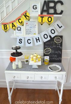 What a cool modern back to school party! See more party planning ideas at CatchMyParty.com!