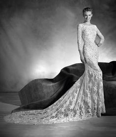 3/4 Sleeves Long Mermaid All Over Fancy Lace Dress for Brides Style NAVAS by Pronovias