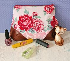 makeup pouch with leather corners tutorial