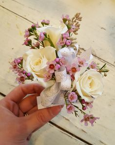 Beautiful white roses and pink wax flower corsage. Perfect for prom, wedding, and showers. Prom Corsage And Boutonniere, Wedding Corsages, Boutonnieres, White Corsage, Flower Corsage, Sola Wood Flowers, Wax Flowers, White Wax Flower, White Roses
