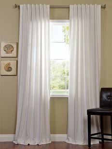 Polar White Cotenza Faux Cotton Curtain Pole Pocket With Back-Tabs Panel