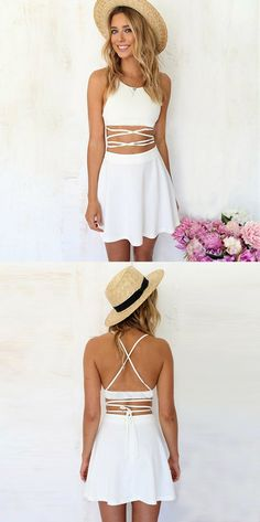 Two Piece Spaghetti Straps Short White Polyester Homecoming Dress