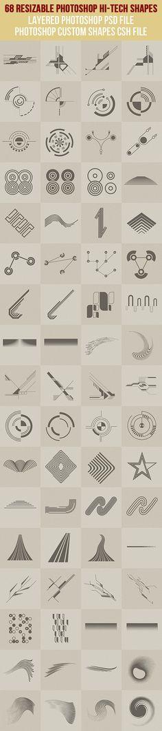 68 Photoshop Hi-Tech Shapes 1 - Symbols Shapes