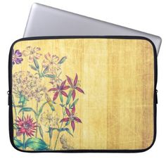 #wood - #Colorful Blooming Flowers Computer Sleeve