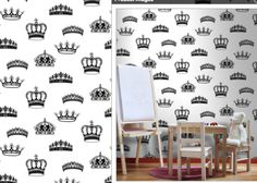 The King and Queen's Royal Crown Wallcoverings - Black on White [CROWN-1836] : Designer Wallcoverings, Specialty Wallpaper for Home or Office