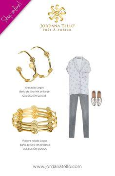 Arracadas roladas y pulseras roladas en baño de oro 14K brillante de la Colección Logos by Jordana Tello