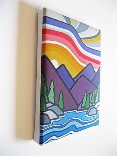 "Day at the Lake, Mini Canvas Print 6"" x 8"" British Columbia, Mountain scene"
