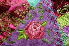 I ❤ embroidery & crazy quilting . . .  Here's a closeup of that rose.
