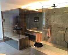 effegibisauna #perfectwellness #biosauna #madeinitaly #sauna #walnutcanalettowood #italiansauna #michelbäder #münchen #Michel #vola #bad  #Wellness #Détente #Home #Spa #Relaxing #Relaxation #Bathroom #Homestyle #Zen #Spa #Sauna i #homespa #dreamshower #bathroomdesign #shower Powder Room Paint, Half Wall Shower, Wet Room Bathroom, Shower Plant, Bathroom Closet Organization, Dream Shower, New Bathroom Ideas, Relax, Half Walls