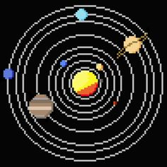 Solar System Circle Cross Stitch Pattern