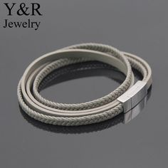 Stainless Steel Magnetic Leather Bracelet Braided Multi-layer Wrap Mens Bracelet