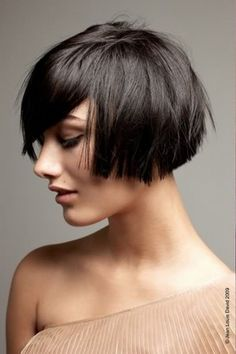 Blunt cropped bob that hits just below the ear with long bangs. Short hairstyle for 2013.  #hair