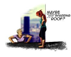 Maybe we should stop sparring on the roof? || Natasha Romanoff, Clint Barton || 500px × 400px || #fanart #clintasha