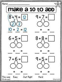Break apart numbers to make a ten to make adding easier (bridging to and other great compensation worksheets and activities for first grade by andrea Math Classroom, Kindergarten Math, Teaching Math, Math Resources, Math Activities, Mental Math Strategies, Therapy Activities, 1st Grade Math Worksheets, Multiplication Worksheets
