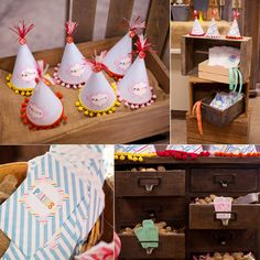 Vintage Carnival Party with peanuts in drawers, a ticket cake and candy buffet