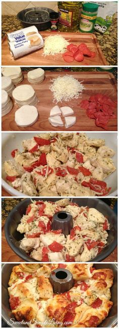 Pull Apart Pizza Bread - we had this at Euchre the other night. I think we could do this without pepperoni - add chopped tomatoes and other veggies.
