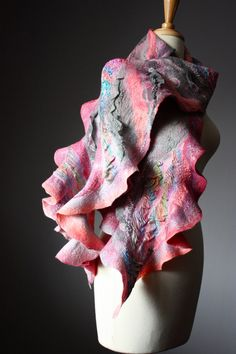 Nuno Felted scarf  Wool  silk  collage  ruffled by VitalTemptation, $149.00