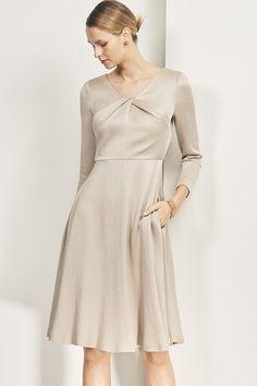 0d51bbe0ee1 Bellevue dress in oyster textured satin - £365 Elegant Maternity Dresses