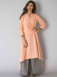 Peach Chidiya Tassel Khadi Kurta with Grey Palazzo - Set of 2