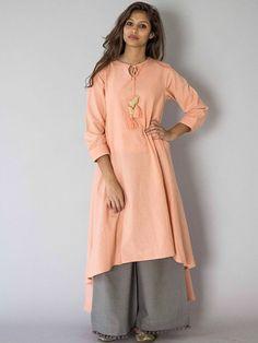 Peach Chidiya Tassel Khadi Kurta with Grey Palazzo - Set of 2