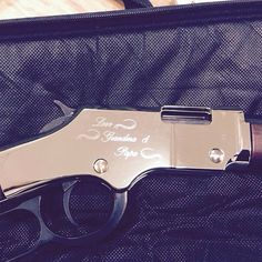 Gold Henry Rifle #engraved #etched #laser @dixiemonument personalization #custom #art #heirloom #keepsakes #memory Love Grandma and Papa