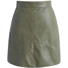 Chicwish Truly Concise Faux Leather Skirt in Army Green