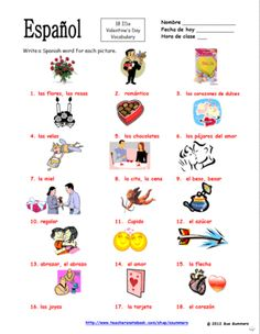 Spanish Valentines Day Vocabulary IDs - Dia de San Valentin from Sue Summers on TeachersNotebook.com -  (2 pages)  - Spanish Valentine's Day Vocabulary IDs - Dia de San Valentin - 18 images to identify