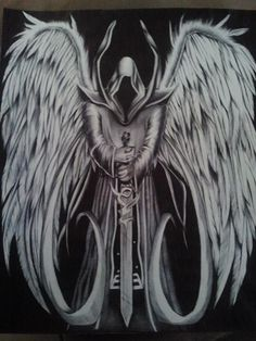 Possible tattoo. Angel of death with the loved ones initials and d.o.d. underneath