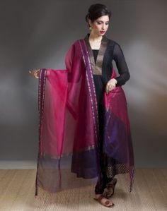 Silk Cotton Maheshwari Rasta Dupatta. fabindia