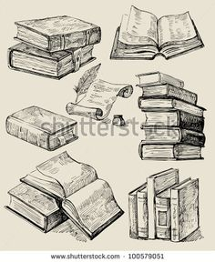 Books stack - stock vector
