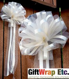 10 Ivory Pew Bows Tulle Church Wedding Decorations by giftwrapetc, $28.95