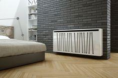 cache radiateur design en métal blanc à motifs diagonaux
