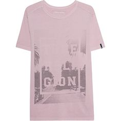 TRUE RELIGION Palm Print Pink // Cotton T-Shirt with palm tree motive (320 SAR) ❤ liked on Polyvore featuring men's fashion, men's clothing, men's shirts, men's t-shirts, mens summer t shirts, true religion mens shirts, mens palm tree shirt, mens pink t shirt and mens cotton t shirts
