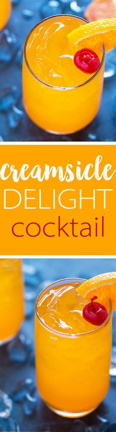 Creamsicle Delight Cocktail with whipped vodka, orange juice or orange soda and ginger ale. Tastes just like a creamsicle!