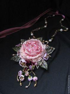 """Купить Колье-Кулон """"В стиле Прованс"""" - необычное украшение, необычное колье, колье роза"""
