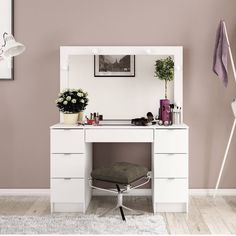 The Boahaus Contemporary Vanity Set with Mirror is perfect for providing storage and space in the bathroom, bedroom or dressing area. Dressing Room Decor, Dressing Table Design, Dressing Table Mirror, Home Design Decor, House Design, Interior Design, Home Decor, Teen Bedroom Inspiration, Cute Bedroom Ideas