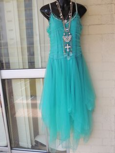 Vintage Stunning Sheer Aqua Green Net Mesh Tulle by GlamourZoya
