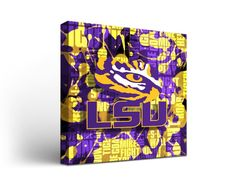 Louisiana State University Tigers Canvas Wall Art Fight Song Design (12x12)