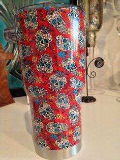 Check Out This Item In My Etsy Shop Httpswwwetsycomlisting - Sugar skull yeti cup