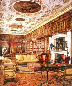 interiorstyledesign:  The largest and most ornate of the six libraries at Chatsworth House in Derbyshire, England. It is the largest private library in England with almost 27,000 books collected during several centuries. (via English Country House Libraries, page 5)