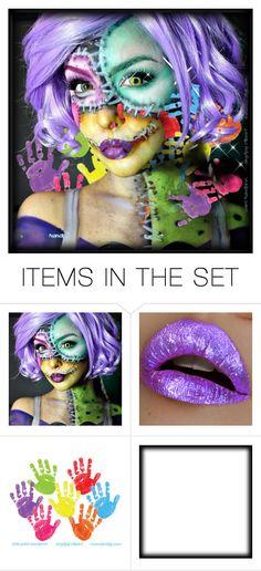 """Ghost Girl Series: Lila Clown"" by beanpod ❤ liked on Polyvore featuring art, abstract and character"