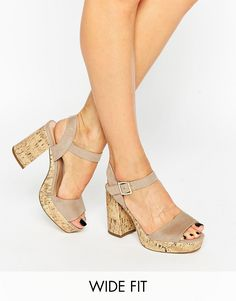 Image 1 ofNew Look Wide Fit Cork Suedette Sandal