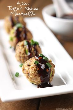 Tasty Asian-inspired meatballs made with turkey and quinoa! Lean, packed with protein and incredibly delicious!