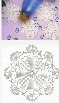 Crochet coasters with free pattern Mandala Au Crochet, Crochet Blocks, Crochet Doily Patterns, Crochet Diagram, Crochet Chart, Crochet Squares, Thread Crochet, Crochet Stitches, Crochet Designs