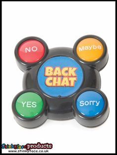 Backchat Talker - Hilarious answers to daft questions at the touch of a button. Great fun for the work place or school. Funny Office Jokes, Office Humour, Funny Gifts For Him, Joke Gifts, A Funny, Hilarious, Great Jokes, Gift Of Time, Novelty Gifts